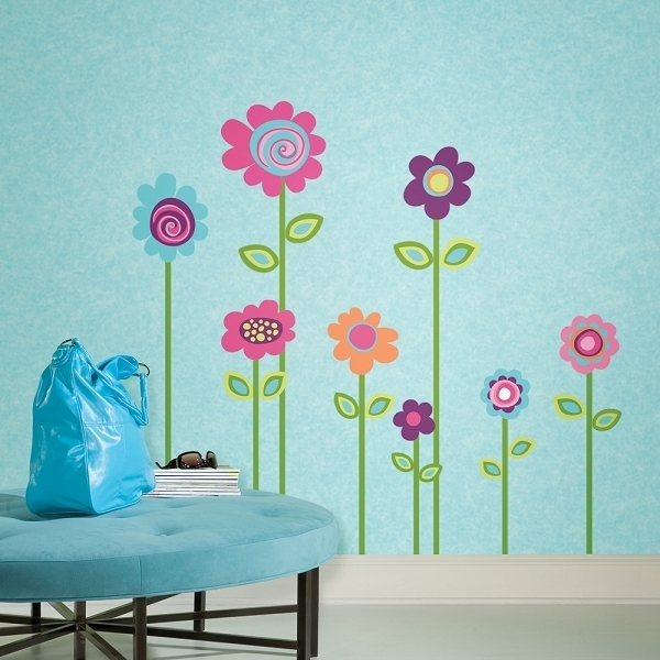 Flower Wall Mural Flower Wall Art Stickers Accent Wall Wall Art Regarding Flowers Wall Accents (Image 7 of 15)
