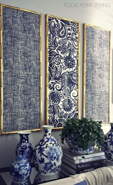 Focal Point Styling: Diy Indigo Wall Art With Framed Fabric | Home Inside Ikat Fabric Wall Art (Image 10 of 15)