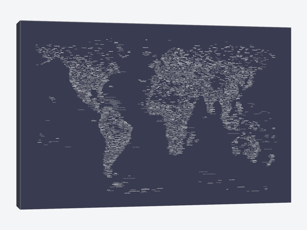 Font World Map (Navy Blue) Art Printmichael Tompsett | Icanvas Throughout Navy Canvas Wall Art (Image 7 of 15)