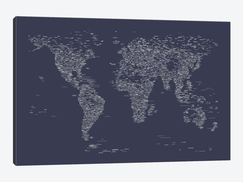 Font World Map (Navy Blue) Art Printmichael Tompsett | Icanvas Throughout Navy Canvas Wall Art (View 11 of 15)