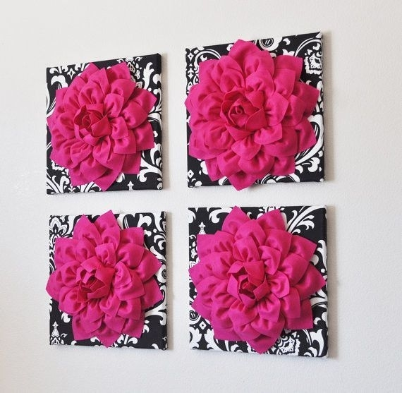 Four Hot Pink Dahlia Flowers On Black Damask Picture Canvas Home Inside Fabric Flower Wall Art (View 12 of 15)