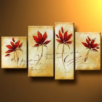 Four Red Flowers Modern Canvas Art Wall Decor Floral Oil Painting In Red Flowers Canvas Wall Art (Image 3 of 15)