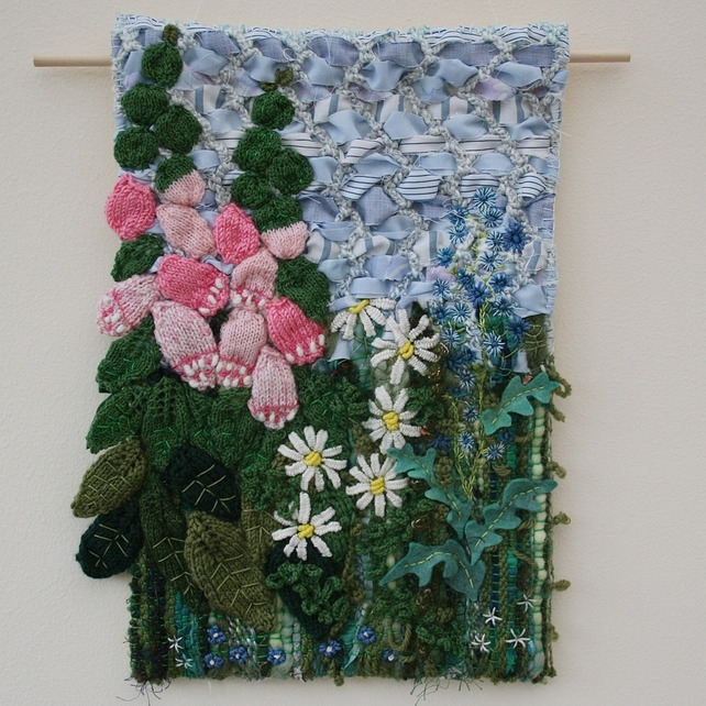 Foxgloves And Daisies – Textile Wall Hanging – Folksy | Craftjuice With Fabric Art Wall Hangings (View 6 of 15)