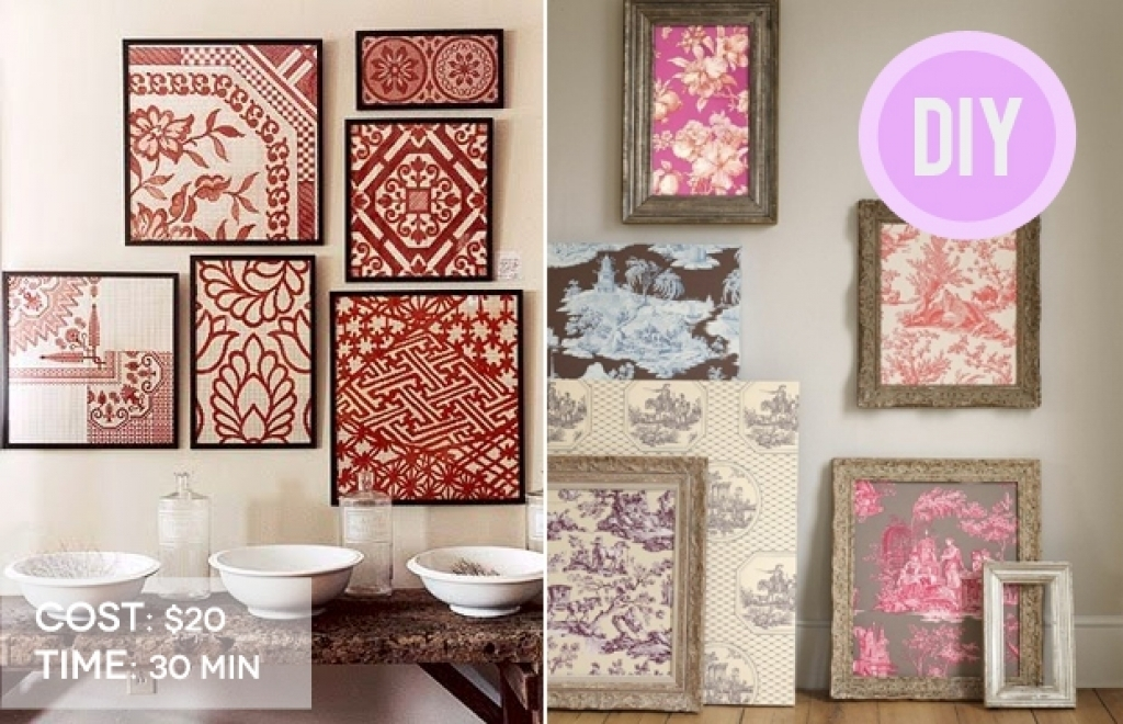 Frame Fabric Wall Art Diy Cheap Decor Creativ On Wall Art Designs Within Foam And Fabric Wall Art (Image 11 of 15)