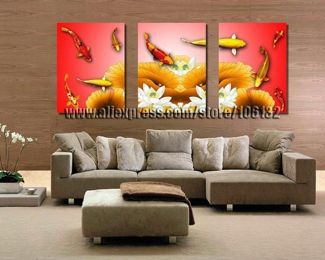Framed 3 Panel Canvas Wall Art Koi Fish Chinese Painting Feng Shui With Regard To Koi Canvas Wall Art (Image 12 of 15)