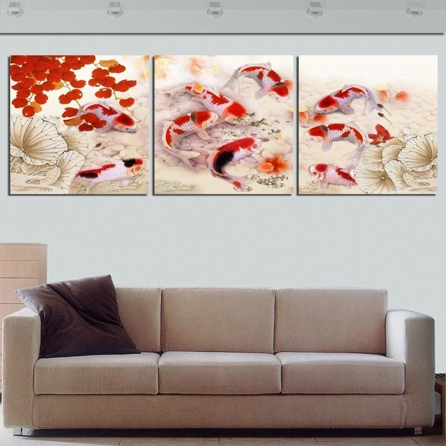 Framed 3 Panel Large Koi Fish Feng Shui Chinese Oil Painting On For Koi Canvas Wall Art (View 12 of 15)