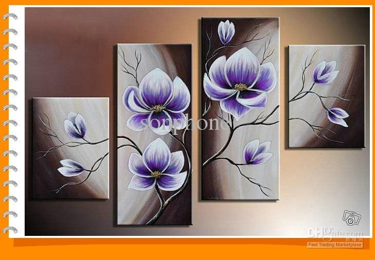 Framed 4 Panels 100% Handmade Purple Flower Oil Painting On Canvas In Purple Flowers Canvas Wall Art (View 1 of 15)