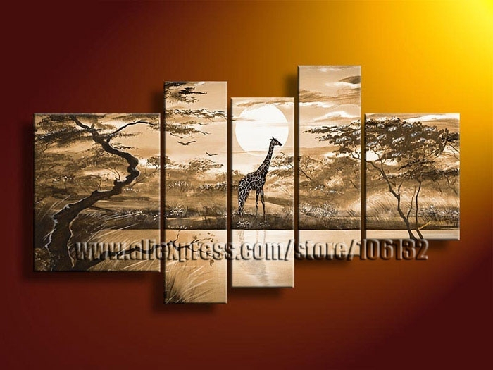 Framed 5 Panel High End Amazing Large African Decor Brown For Giraffe Canvas Wall Art (View 14 of 15)