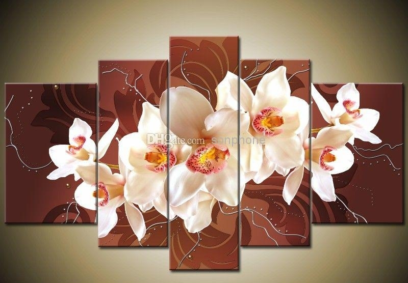 Framed 5 Panel Large Orchid Canvas Painting Wall Art Home Throughout Orchid Canvas Wall Art (Image 9 of 15)