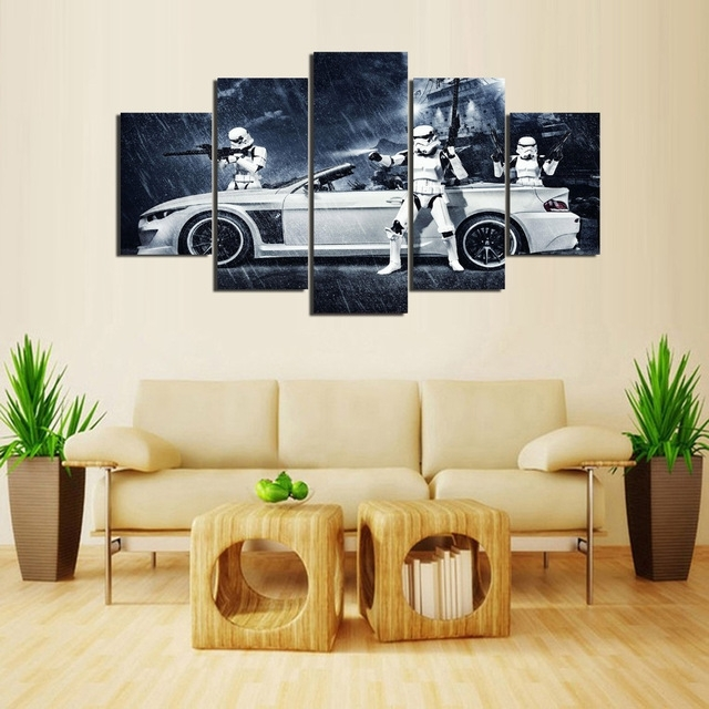 Framed) 5 Pieces Star Wars Assault Vehicle Bmw Modern Home Wall With Regard To Bmw Canvas Wall Art (Image 6 of 15)