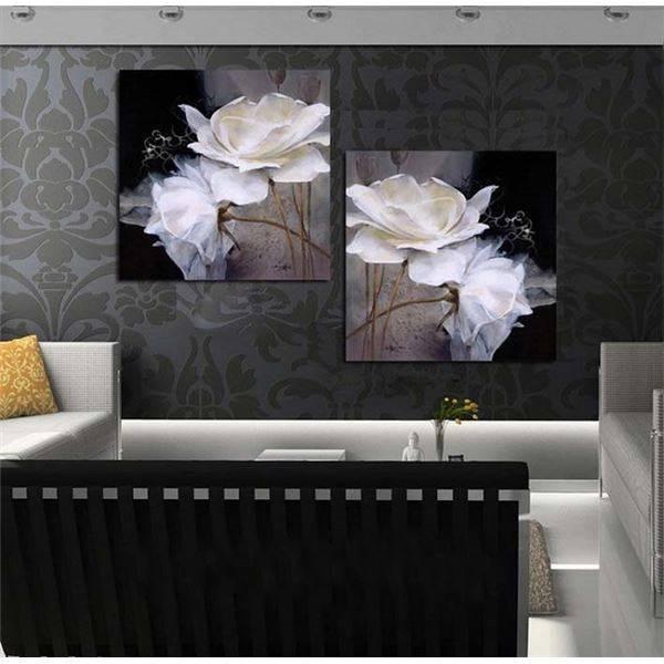 Framed Art Black And White 2 Plates Contemporary Oil Painting Regarding Black Framed Art Prints (View 13 of 15)