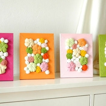 Framed Art Fabric Flower Wall From Mapano On Etsy For Diy Fabric Flower Wall Art (View 4 of 15)