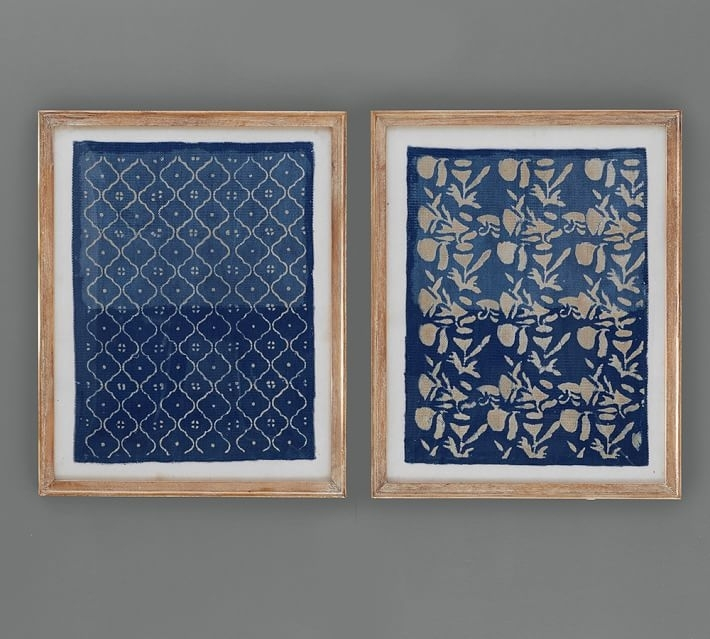 Framed Blue Textile Art | Pottery Barn With Wall Art Fabric Prints (Image 8 of 15)