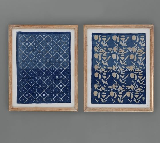 Framed Blue Textile Art | Pottery Barn within Fabric Wall Art Patterns