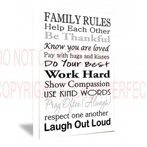 Framed Canvas Print Family Rules Help Each Other Be Thankful Know Regarding Canvas Wall Art Family Quotes (Image 4 of 15)