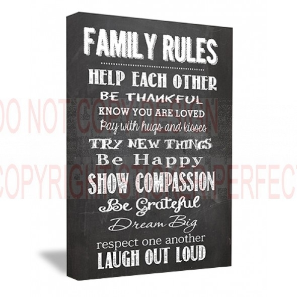 Framed Canvas Print Family Rules Help Each Other Be Thankful Know Within Canvas Wall Art Family Quotes (View 3 of 15)