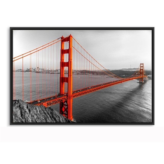 Framed Canvas Wall Art Golden Gate Bridge San Francisco California Throughout Golden Gate Bridge Canvas Wall Art (Image 8 of 15)