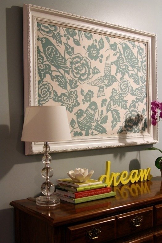 Framed Fabric – Cheap Fix To Cover Large Empty Wall — Want To Do Pertaining To Fabric Covered Foam Wall Art (Image 12 of 15)