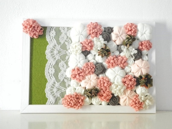 Framed Fabric Flowers Home Decor 3D Design Wall Art Pink White Regarding Fabric Flower Wall Art (Image 11 of 15)