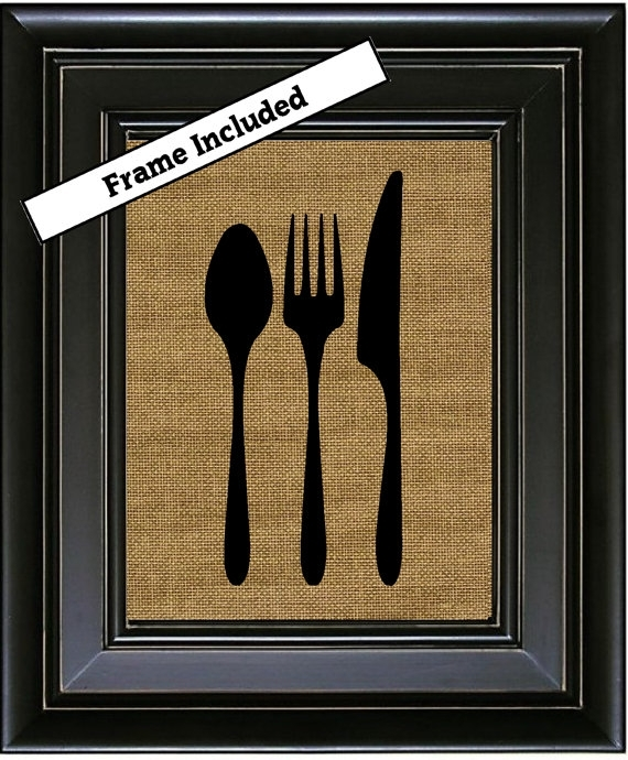 Framed Kitchen Silverware Knife Fork Spoon Wall Hanging Fabric In Burlap Fabric Wall Art (Image 11 of 15)