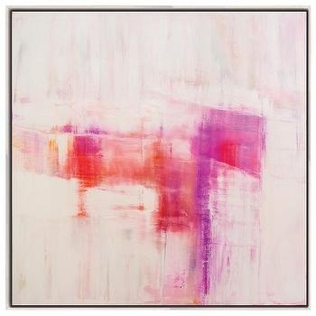 Framed Pink On Red Wall Canvas Art Within Pink Abstract Wall Art (Image 7 of 15)