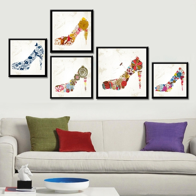 Frameless Cock High Heels Canvas Painting Abstract Wall Art Inside Abstract Wall Art Posters (View 15 of 15)