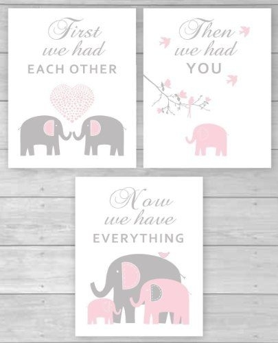 Free Elephant Themed Artwork Printables For A Baby Girl Nursery Intended For Nursery Canvas Wall Art (View 12 of 15)