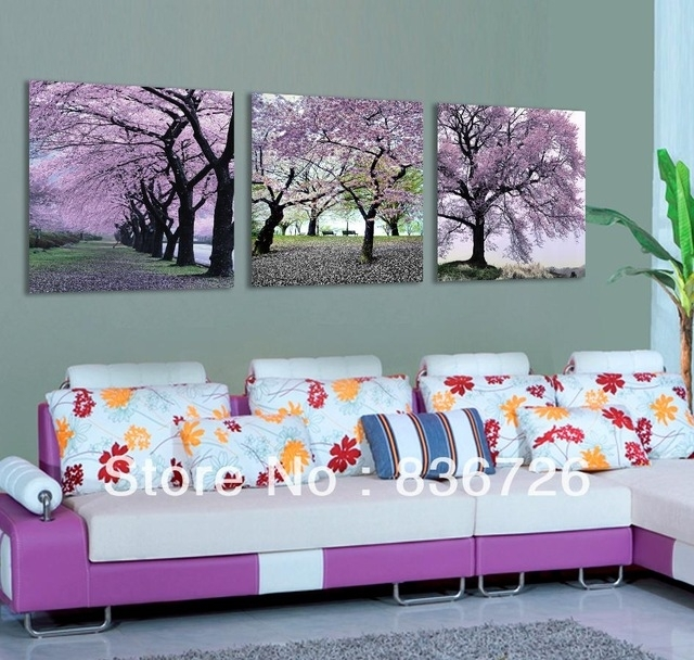 Free Shipping 3 Piece Canvas Wall Art Flower Wall Canvas Paintings With Purple Flowers Canvas Wall Art (View 6 of 15)
