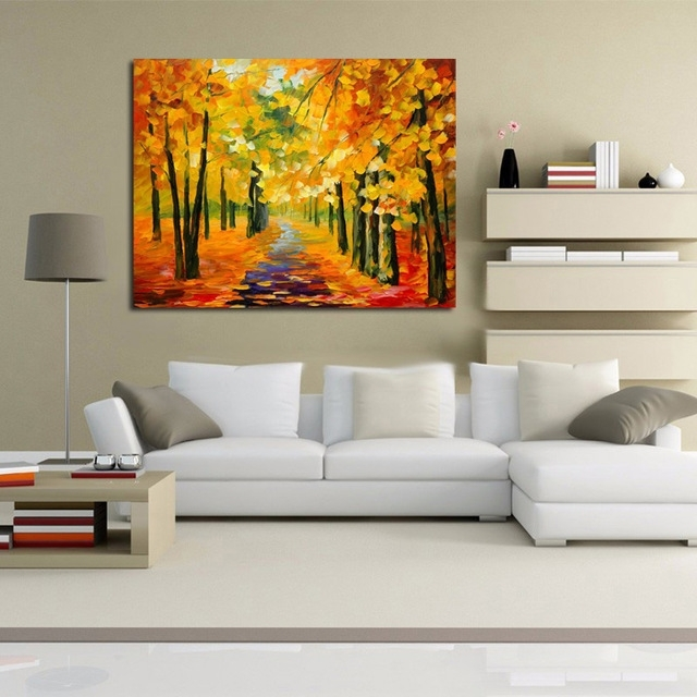 Free Shipping Abstract Golden Tree Forest Knife Oil Painting On For Montreal Canvas Wall Art (View 6 of 15)