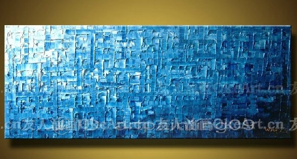 Free Shipping Canvas Wall Art Blue Abstract Painting Modern Decor Throughout Blue Canvas Wall Art (Image 9 of 15)