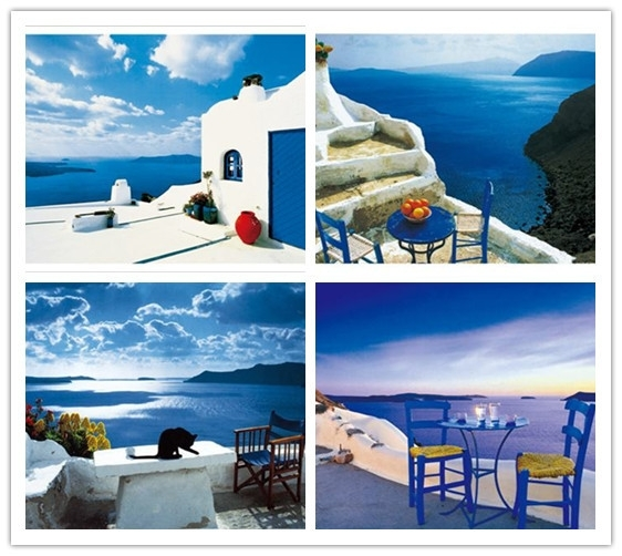 Free Shipping Greece Seascape Painting Mediterranean Landscape For Greece Canvas Wall Art (View 4 of 15)