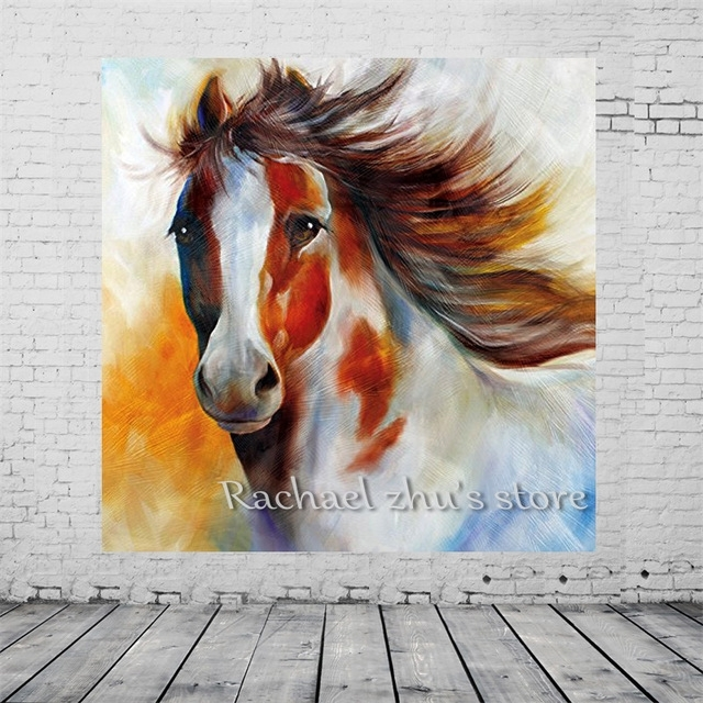 Free Shipping Hand Painted Modern Abstract Horse Oil Paintings On Throughout Abstract Horse Wall Art (View 9 of 15)
