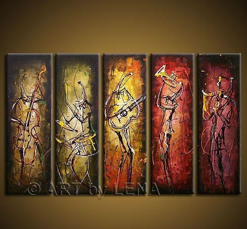 Free Shipping Hand Painted Wall Art Abstract Music Oil Painting On With Regard To Music Canvas Wall Art (Image 5 of 15)