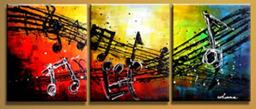 Free Shipping Handpainted 3 Piece Modern Abstract Oil Painting On For Abstract Music Wall Art (View 11 of 15)