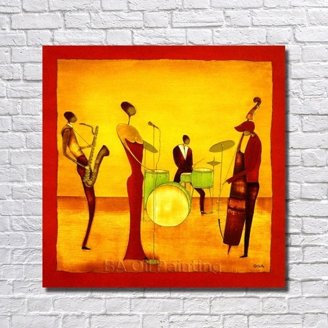 Free Shipping Handpainted Abstract Jazz Band Oil Painting On Pertaining To Abstract Jazz Band Wall Art (View 2 of 15)