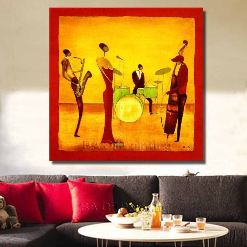 Free Shipping Handpainted Abstract Jazz Band Oil Painting On With Regard To Jazz Canvas Wall Art (View 10 of 15)