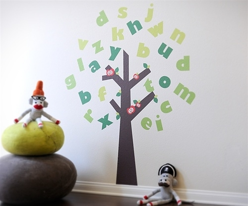 Free Shipping – Large Colorful Alphabet Tree – Fabric Wall Art Pertaining To Fabric Wall Art Stickers (Image 7 of 15)