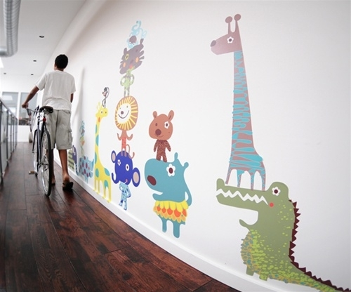 Free Shipping – Large Colorful Jungle Animals Fabric Wall Decals With Regard To Fabric Wall Art Stickers (Image 10 of 15)