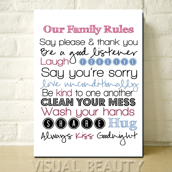 Free Shipping The Letter Our Family Rules Wall Word Art For Living Pertaining To Canvas Wall Art Family Rules (View 13 of 15)