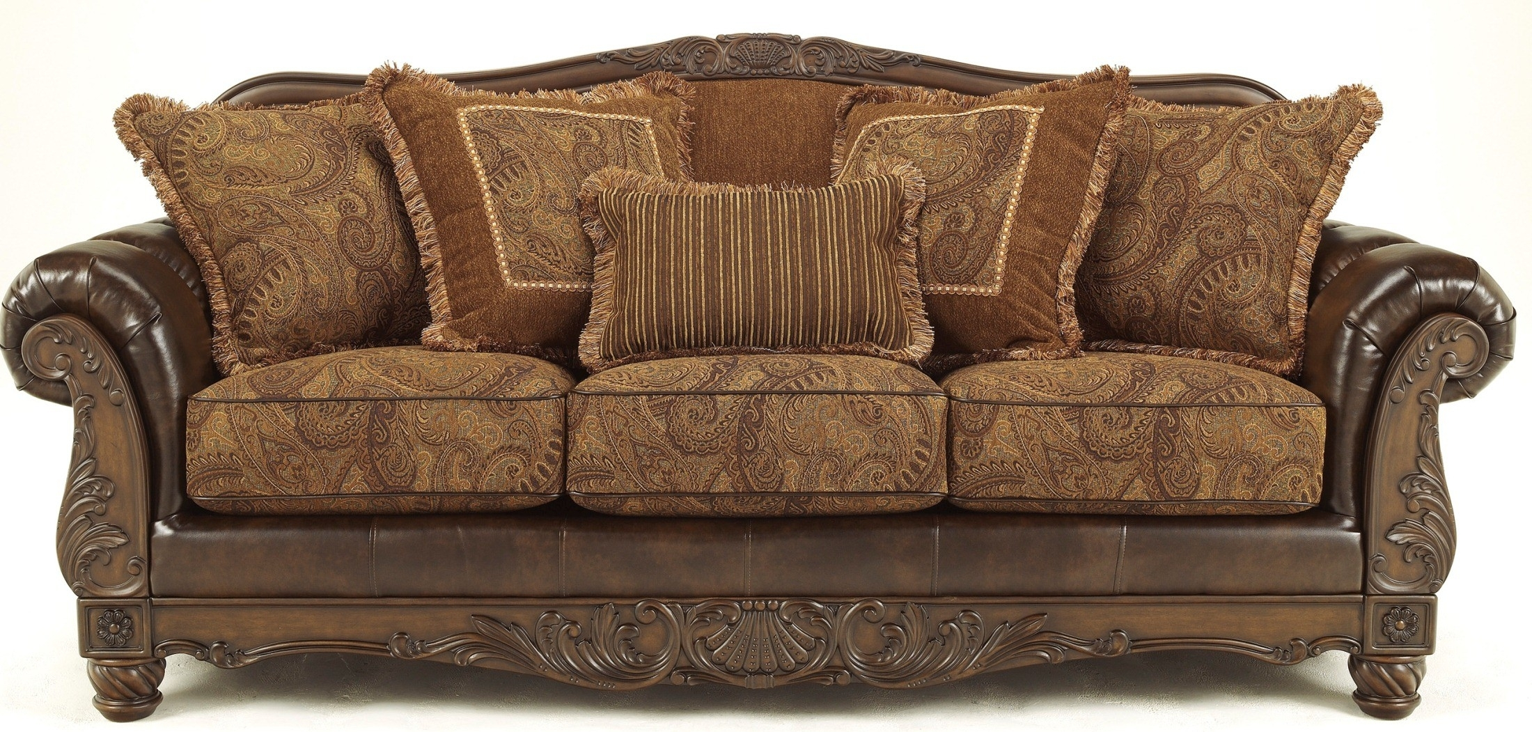 Fresco Durablend Antique Sofa From Ashley (6310038) | Coleman Furniture Throughout Antique Sofas (Image 5 of 10)