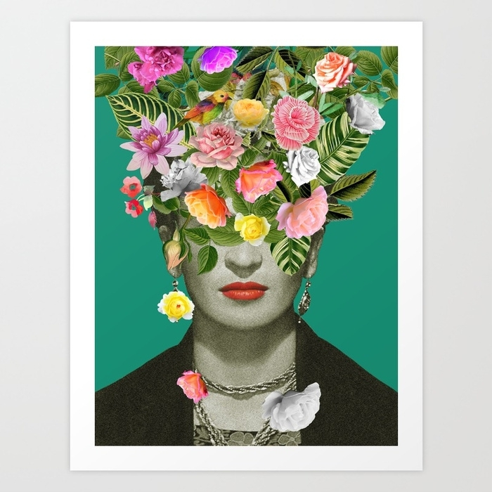Frida Floral Art Printdesireefeldmann | Society6 Inside Flowers Framed Art Prints (Image 6 of 15)