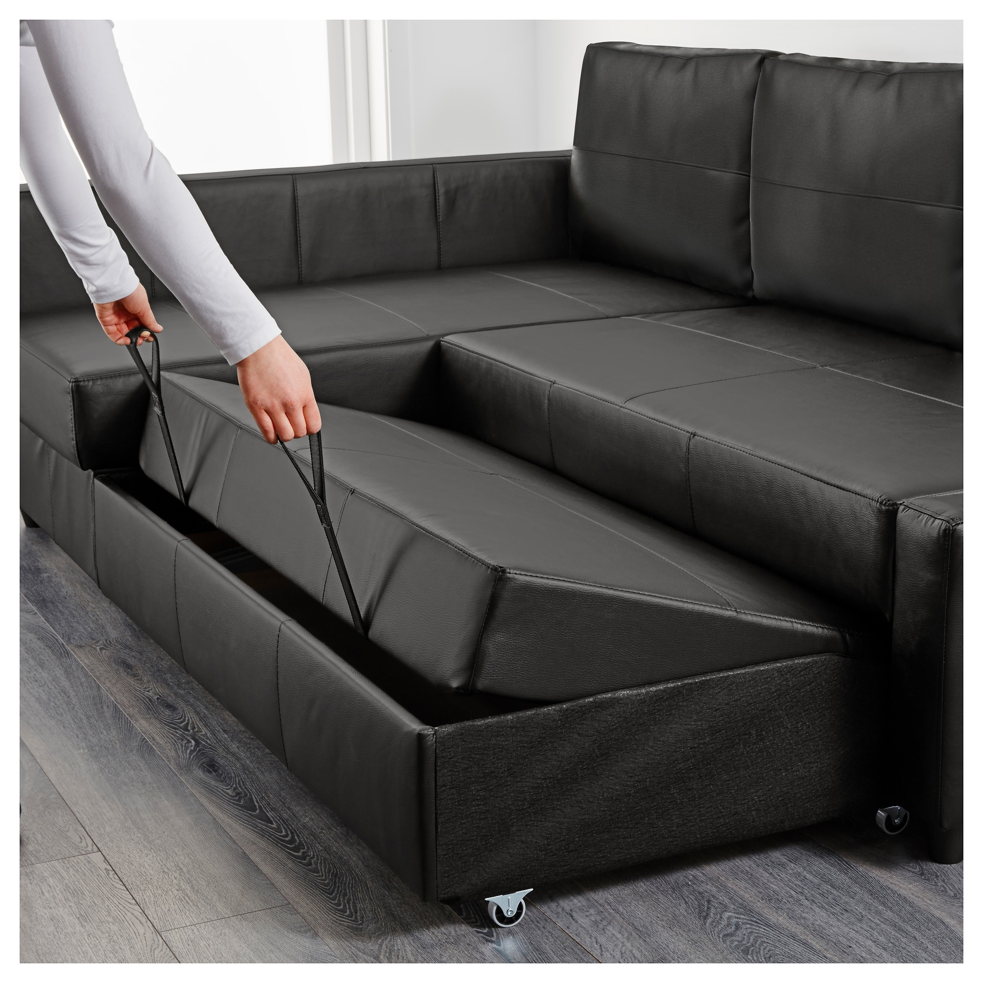 Friheten Corner Sofa Bed With Storage Bomstad Black – Ikea Within Ikea Corner Sofas With Storage (View 4 of 10)