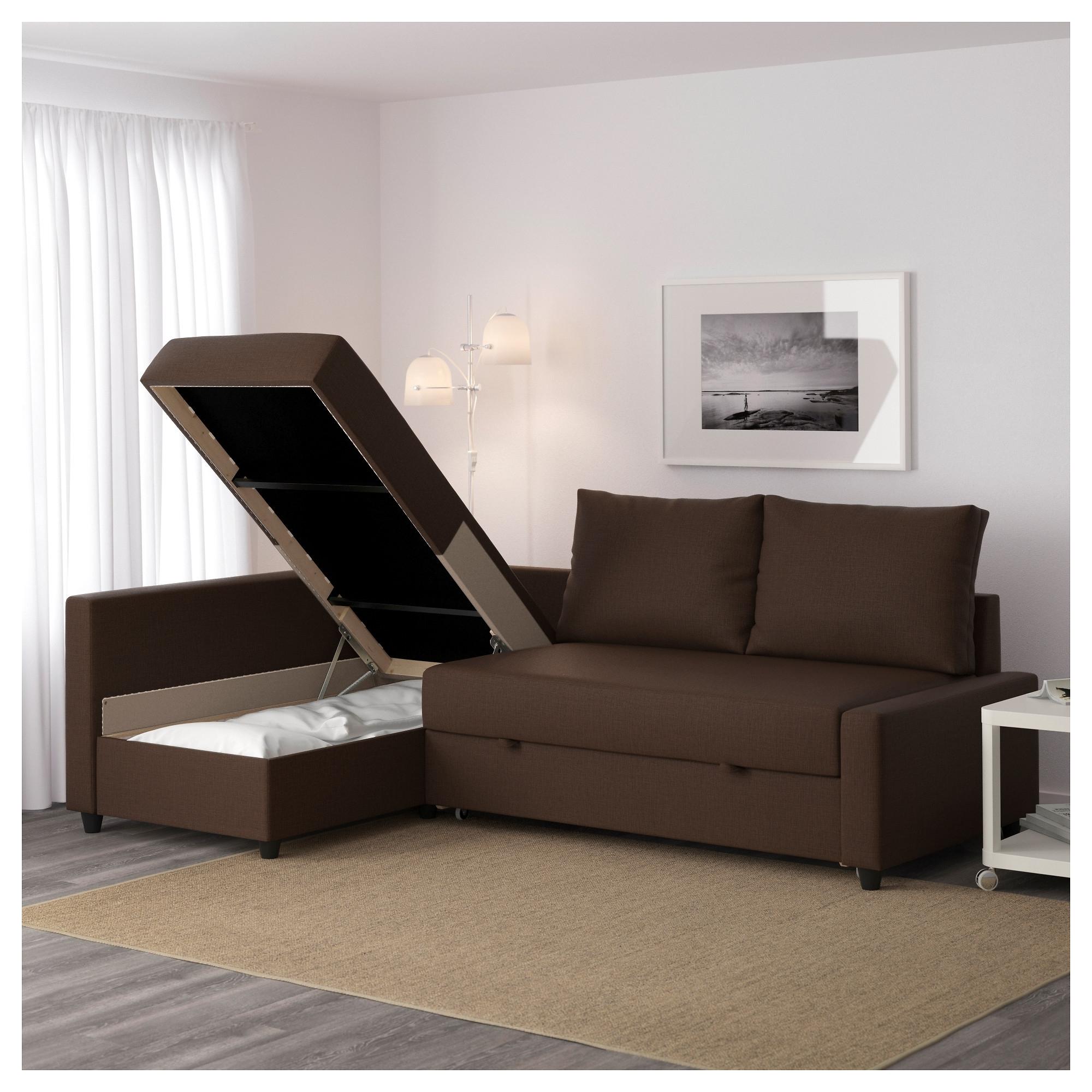 Friheten Corner Sofa Bed With Storage Skiftebo Brown – Ikea With Regard To Storage Sofas (Image 6 of 10)