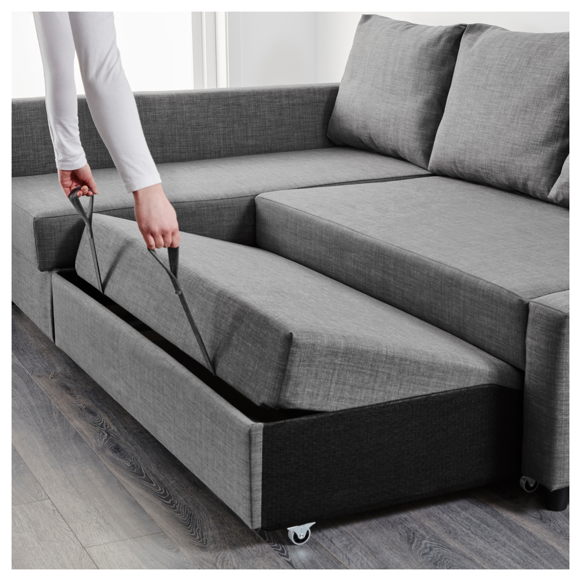 Friheten Corner Sofa Bed With Storage Skiftebo Dark Grey Ikea Regarding Sofas