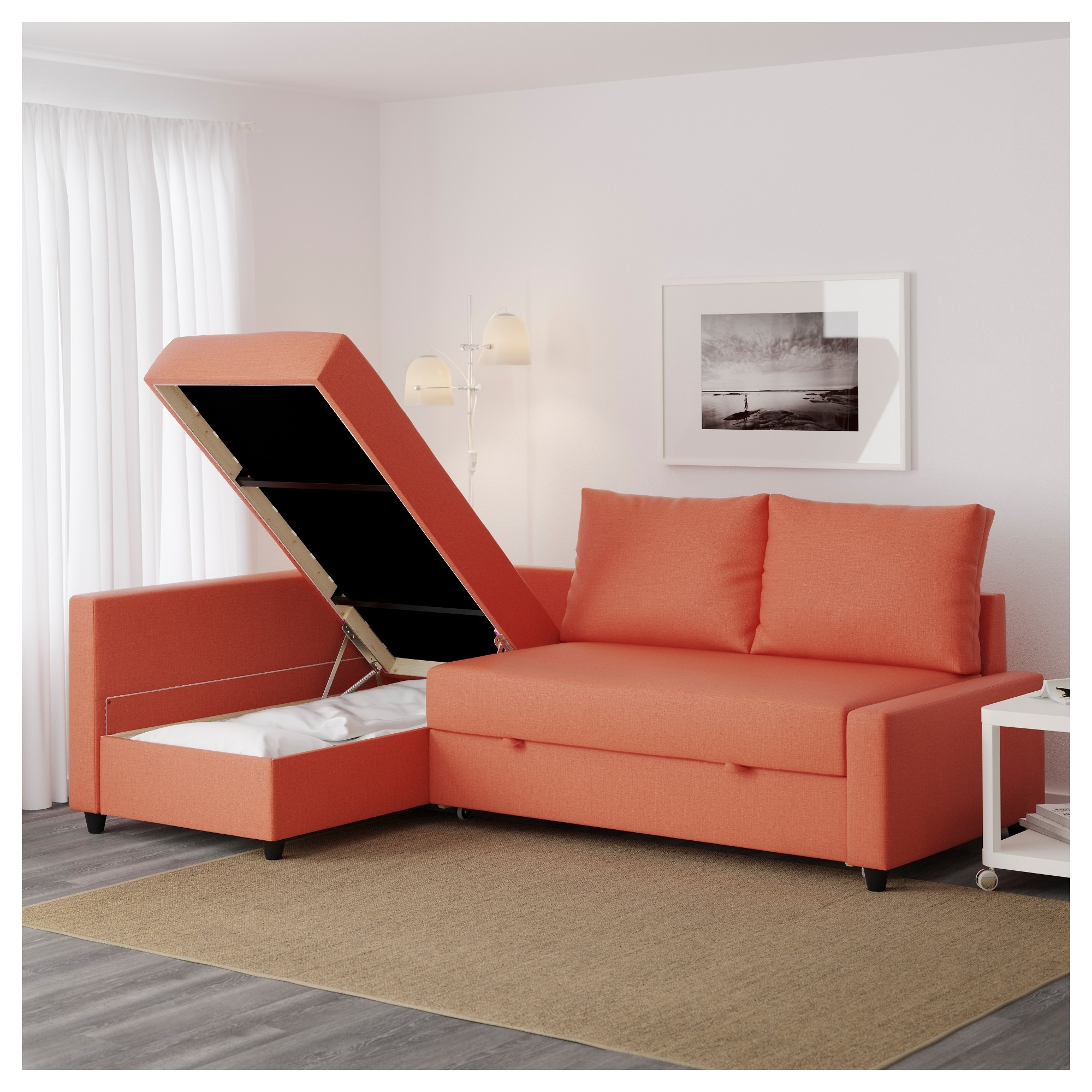Friheten Corner Sofa Bed With Storage Skiftebo Dark Orange – Ikea With Ikea Corner Sofas With Storage (View 3 of 10)