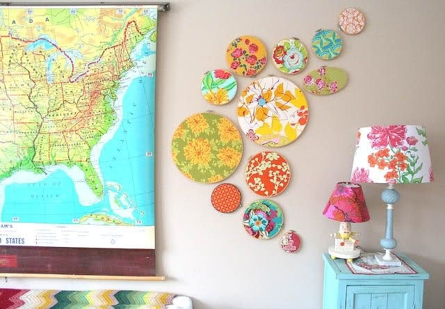 Frugal Home Décor: Embroidery Hoop Wall Art | Embroidery Intended For Fabric Wall Accents (Image 10 of 15)