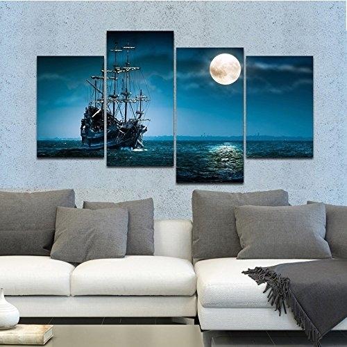 Full Moon Ocean Ship 4 Panel Seascape Framed Canvas Wall Art In Ocean Canvas Wall Art (View 5 of 15)