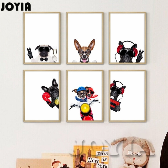 Funny Dog Wall Art Prints Pet Puppy Hipster Animals Canvas Wall With Dog Art Framed Prints (View 9 of 15)
