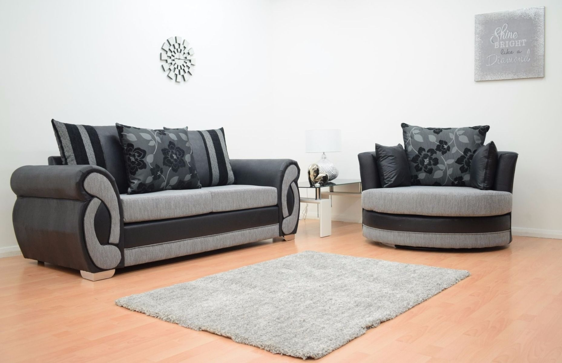 Furnish365 | Chloe 3 Seater And 2 Seater Fabric Sofa Suite – Black With 3 Seater Sofas And Cuddle Chairs (View 3 of 10)