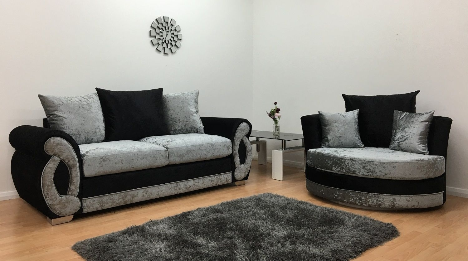 Furnish365 | Chloe 3 Seater And Cuddle Chair – Black & Silver Pertaining To 3 Seater Sofas And Cuddle Chairs (View 7 of 10)